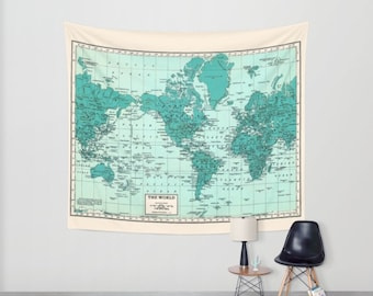 World Map Wall Tapestry - Wall hanging - vintage map, teal and cream beautiful map, travel decor, wall decor atlas, den, bedroom, library