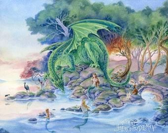 Dragon art print, Mermaid art, fox, fairy tale forest, fantasy art print, 8x10, Art for Kids