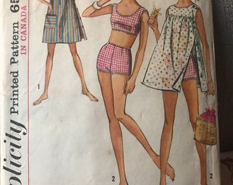 Vintage 60s Simplicity 6018 Swimsuit and Coverup Pattern-Size 11 (31 1/2-24 1/2-33 1/2)