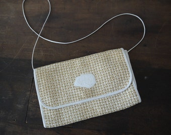 VINTAGE Carlos Falchi Straw weaved leather bag / perfect Falchi clutch with skinn strap / leather Carlos Falchi purse bag / gold Falchi bag