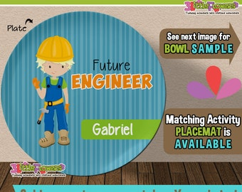 Future Engineer Plate and Bowl Set - Personalized Plastic Children Plate Cereal Bowl - CHOOSE HAIR SKIN color - Career Plate Set