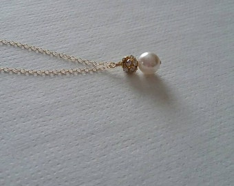 Gold Bridal Pearl Necklace - 14k Gold Fill Chain Pearl Necklace - Bridal Jewellery - Wedding Jewelry - Pearl Sparkle Necklace - Single Pearl