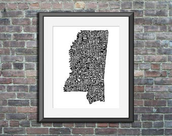 Mississippi map art typography unframed print customizable personalized state poster custom wall decor engagement wedding housewarming gift