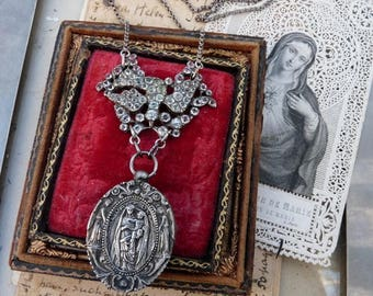Antique Georgian Victorian Paste Dove & French Virgin Mary Reliquary Necklace, The Dove Keeper, by RusticGypsyCreations