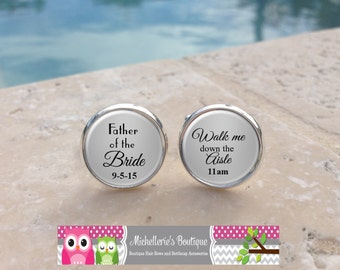 Personalized Father of the Bride Cufflinks, Walk me down the aisle,Daddy,Dad,Papa,Custom Wedding Gifts,Gifts for Dads, MB102