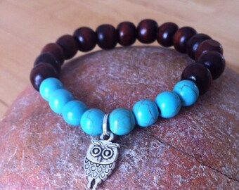 Yogi inspired wood bead bracelet with cute owl charm and turquoise howlite beads