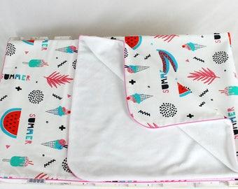 Watermelon blanket, Summer Blanket, White minky blanket, Baby infant blanket,  girl minky blanket, Last item