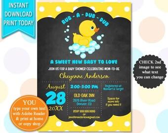 Rubber Duck - Baby Shower, Duck Baby Shower, Baby Shower Invite, Duck Invitation, Rubber Ducky, Rubber Duck Shower, Rubber Duck Invite