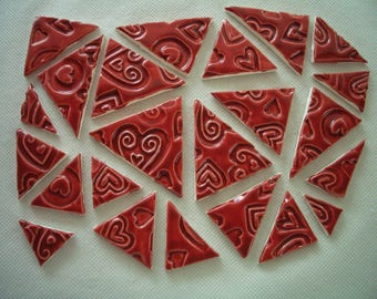 23RHT - 23 pc RED HEART Stamped TRIANGLES - Ceramic Mosaic Tiles Set