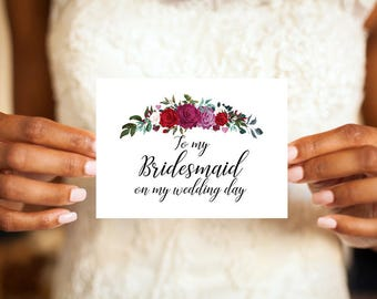 To my Bridesmaid on my wedding day card, Bridesmaid card, Bridesmaid, Greeting Card, Wedding day card