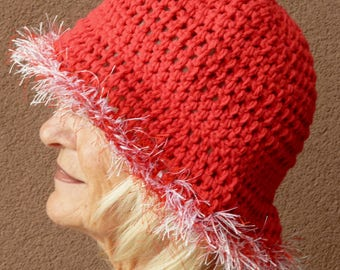 Women's chemo hat in red cotton, hat for women who love red, there is a brim and a touch of red and white on rim, free shipping in USA
