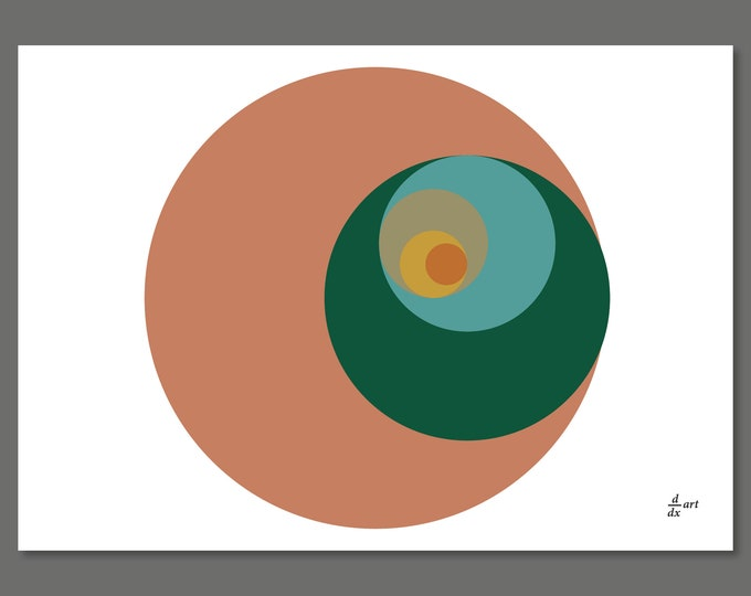 Golden Ratio Circles 04 [mathematical abstract art print, unframed] A4/A3 sizes