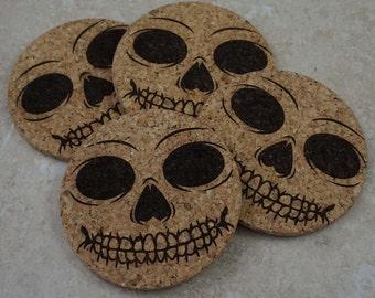 Skeleton Face Coasters ~ Halloween Coaster Set ~ Laser Engraved Cork Coasters