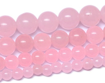 Pink Chalcedony Beads, 4 6 8 10 12mm Smooth Round Pink Beads, Light Pink Gemstone Beads, DIY Loose Beads Supplies for Jewelry Making (B42)