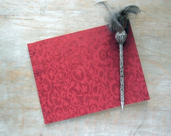 Softcover Guest Book, Red Damask with unlined parchment pages, Ready to Ship