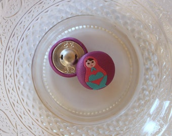 Purple Russian doll cloth button