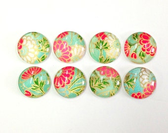 SALE- Japanese Daisy- set of 8 Glass Magnets- spring colors- green pink and white floral pattern- back to school