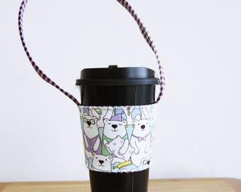 A84 Fabric coffee cup holder / Fabric coffee cozy / cup sleeve / drink sleeve / reusable coffee sleeve