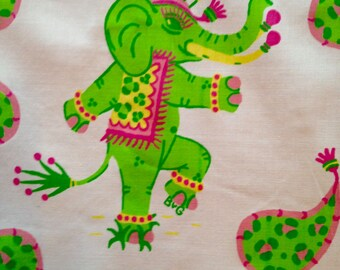 Elephants on Parade White - Fabric 50""