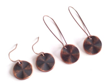 Antiqued Copper Disc Earrings, Copper Earrings, Modernist Earrings, Minimalist Earrings, Everyday Jewelry, Pierced Dangle Earrings