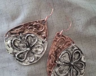 Copper and Silver Tone Earrings, Statement Piece Earrings, Two Tone Earrings, Mixed Metal Earrings, Two Tone Jewelry, Mixed Metal Jewelry