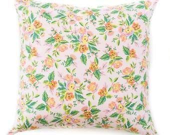 Housse de coussin rose floral