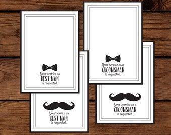 Groomsmen, Best Man Cards - Mustache and Bowtie Options - 5 x 7 Instant Download Printable