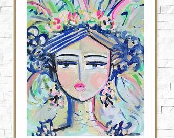 Abstract Portrait PRINT, orig. canvas, 8x10, 11x14, woman portrait, Kai