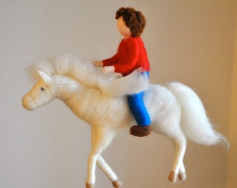 Pegasus Mobile Waldorf inspired needle felted : The Boy and the Pegasus