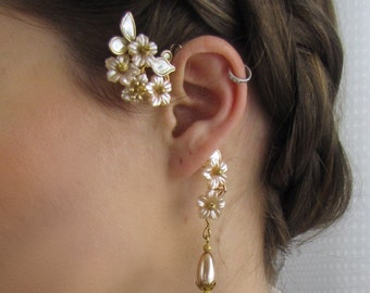 Champagne & Peach Flower Bridal Ear Cuff Coordinated Pearl Drop Earring