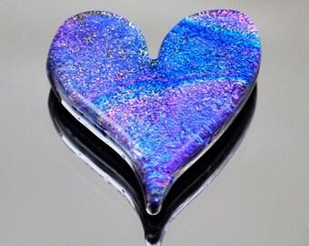 Dichroic Mosaic Heart Tile, Blue Rainbow Heart Tile, Fused Tile, Glass Heart, Dichroic Cabochon, Large Cabochon