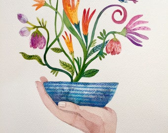 "Original watercolor painting ""Flowers in hand"" , A4 -30-21 cm,Free shipping, botanical art, flora art"