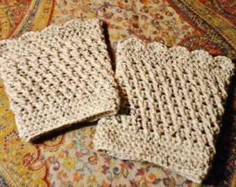 Crocheted Boot Cuffs Oatmeal Acrylic Wool Blend Women