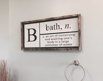 Bathroom Decor / Bathroom Wall Decor / Definition of Bath / Bathroom Sign / Black and White Bathroom Sign / Bath Sign
