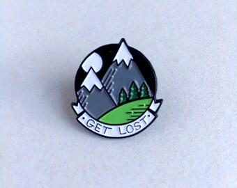 Mountain enamel pin - Father's Day  - adventurer lapel pin - lapel pin forest - wilderness lapel pin - soft enamel pin - travel pin badge