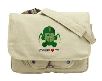 Cthulhu Loves You Embroidered Canvas Messenger Bag