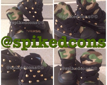Camo tongue studded converse (ALL toddler/youth sizes)