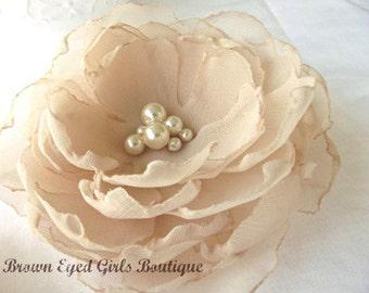 Champagne Bridal Hair Flower, Champagne Bridal Fascinator, Champagne Rustic Wedding Hair Clip