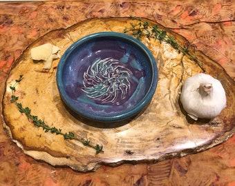 Purple Handmade Ceramic Garlic Grater // Garlic Grater // Servingware // Bread Dipper // Dish // Garlic Dish // Garlic and Oil Dish