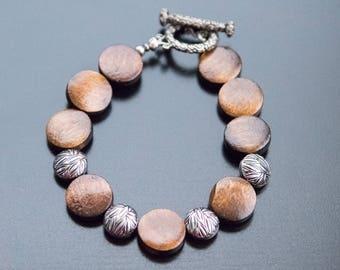 Silver Leaves Bracelet - Leaf Beads, Leaf Jewelry, Round Wood Beads, Wood Bracelet, Metal Beads, Western Style Bracelet, Brown
