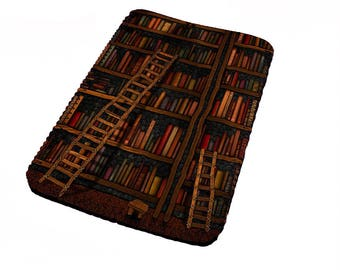 Cozy warm library book shelf sleeve for all kindle models, some ipad mini models and various e readers