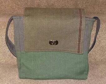 Green, brown and blue herringbone wool messenger bag