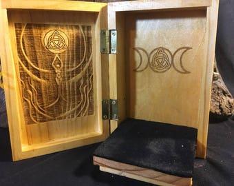 Triple Moon Goddess Portable Travel Altar Box