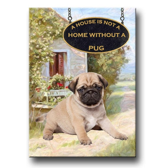 Pug a House is Not a Home Fridge Magnet No 3 Puppy