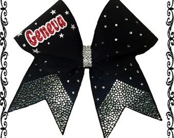School name scattered rhinestone cheer bow