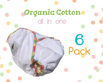 AiO 6 pack Organic Cloth Diapers One Size Special Sale