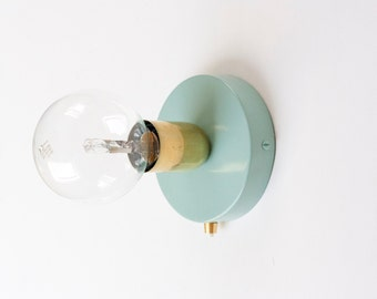 Brass Wall Sconce with 120mm Duck Egg Blue wall sconce and button switch | wall light | wall lamp