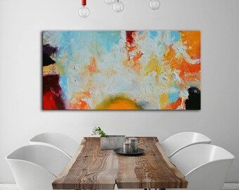 White Abstract art, Blue orange painting, blue acrylic art, Handmade Large Contemporary Canvas Painting, Original Art Acrylic Painting