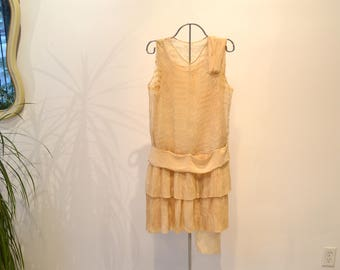 AS IS 1920s Pleated Silk Chiffon and Eyelet Lace Sheer Dress. Beige. Sleeveless. Drop Waist. Extra Small