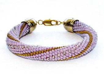 Pink Gold Silver Bead Crochet Seed Bead Bracelet Beadwork Jewelry for Women Elegant Bracelet Modern Handmade Colorful Bracelet Gift